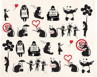 Banksy Mixed Graffiti Cotton Tote Bag