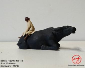 Bonsai Accent Figurine No 114 Boy &  Water Buffalo