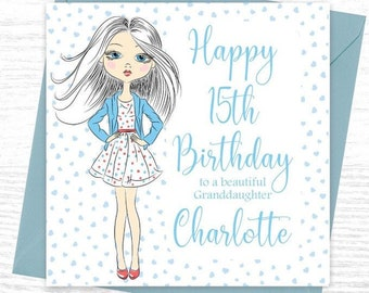 Glamour Girl 15th Birthday Card Girls Teenager Daughter Grandaughter Friend BFF