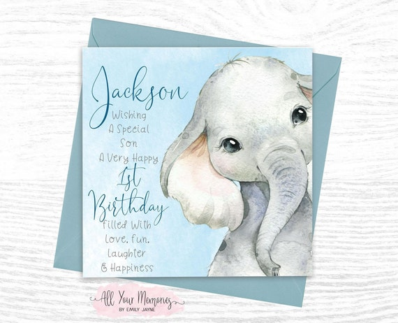 Daughter BHB01 Handmade Age 1 Card Son Personalised 1st Birthday Card
