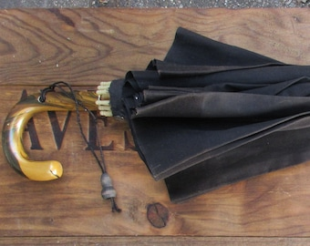 Antique Black Cloth Umbrella with Celluloid Handle and Hardwood Shank