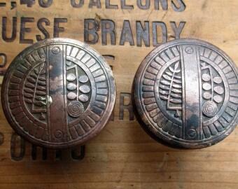 Antique Copper Door Knob Handle Set