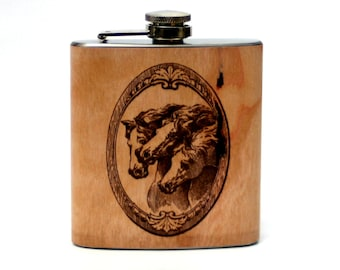 Personalized horse flask, wooden flask