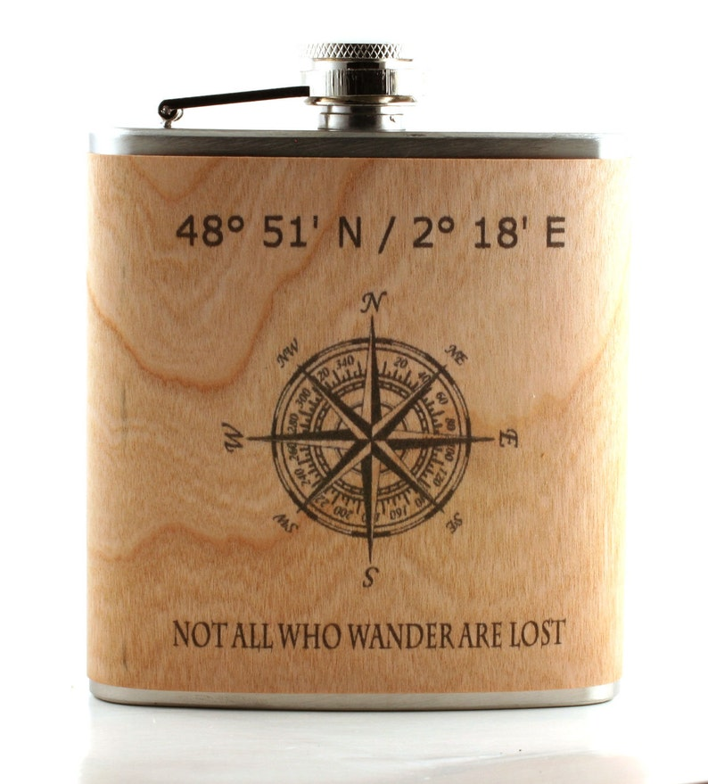 Wooden flask with coordinates image 0