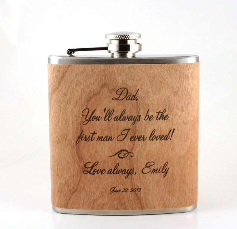 Father of the Bride gift  Wooden flask image 0