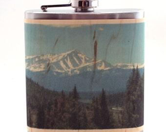 Rocky Mountain wood flask, Colorado gift flask
