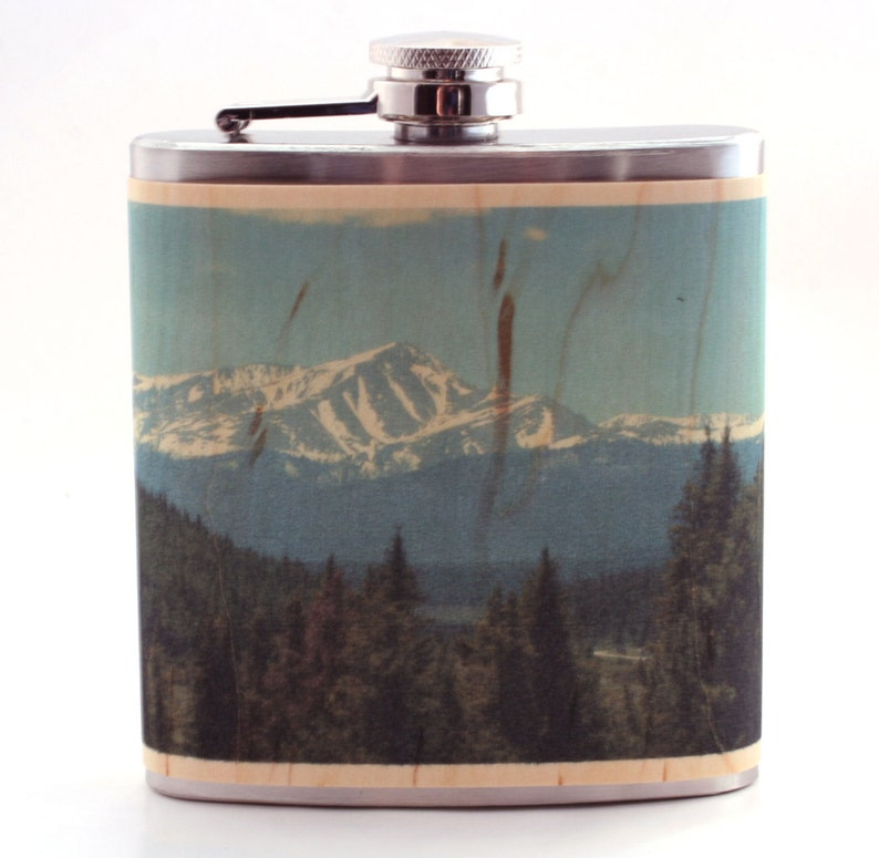 Rocky Mountain wood flask Colorado gift flask image 0