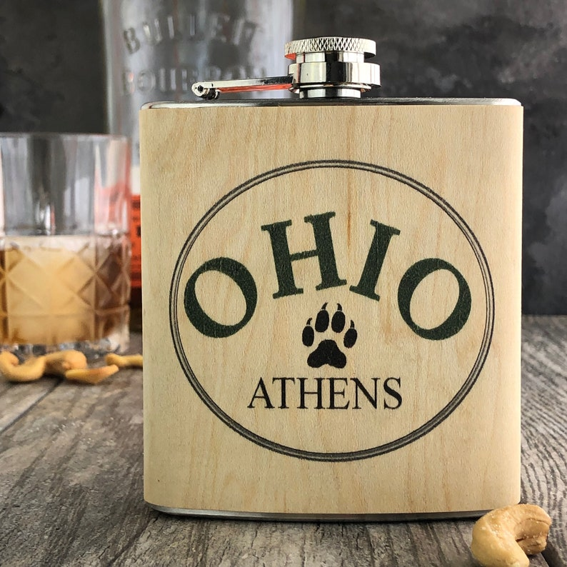 Ohio University wood flask image 0