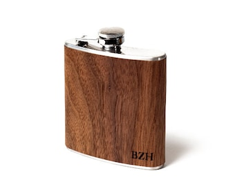 Personalized wooden flask.