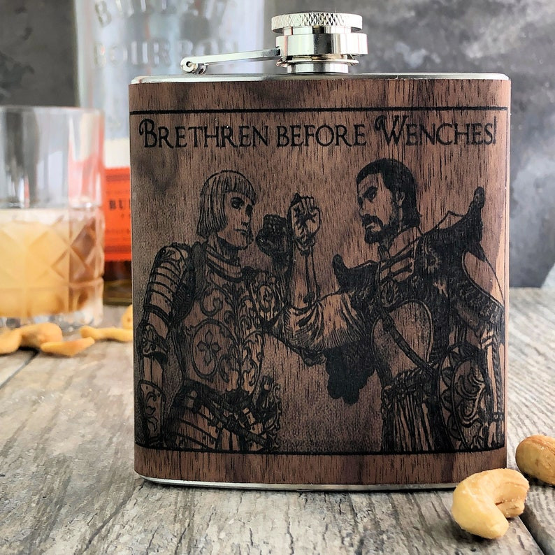 Brethren Before Wenches Groomsmen wood gift flask  image 0