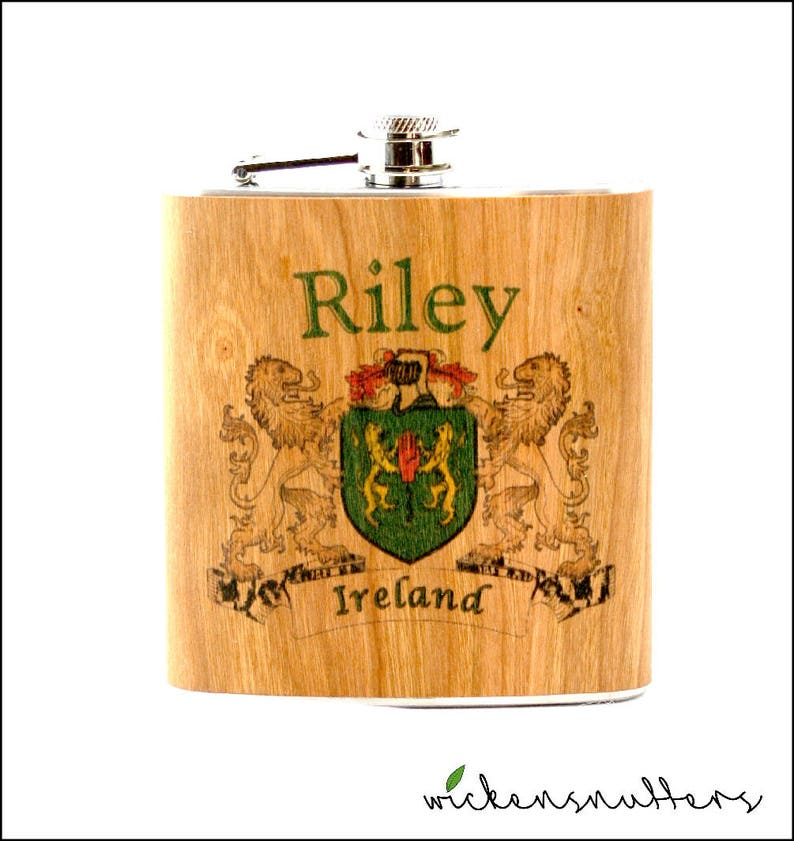 Your family crest on a wood wrapped flask image 0