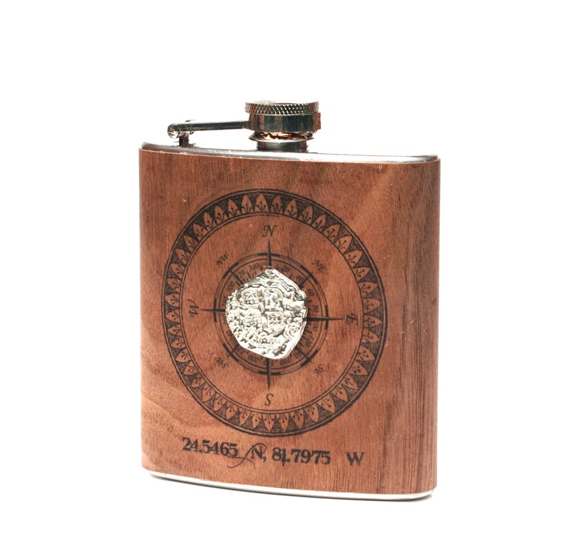 Personalized coordinates wooden flask  Atocha coin image 0