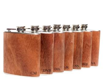 7 wood flask gift set, Free Shipping!