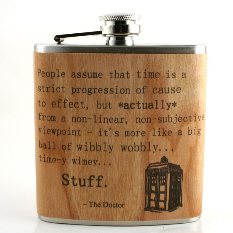 Wooden Dr. Who flask. image 0