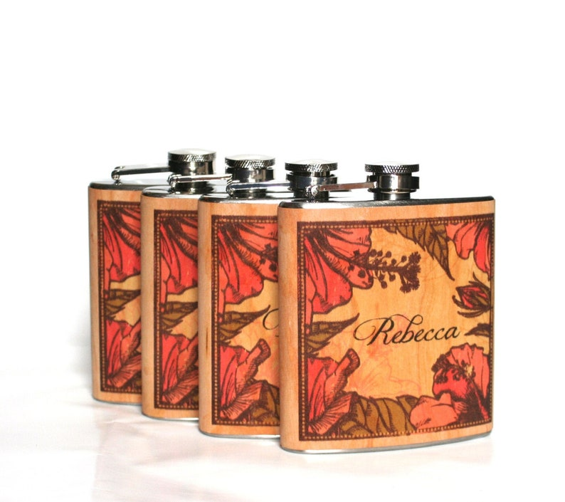 Six unique Bridesmaid flask personalized bridesmaid Flasks Six flasks only