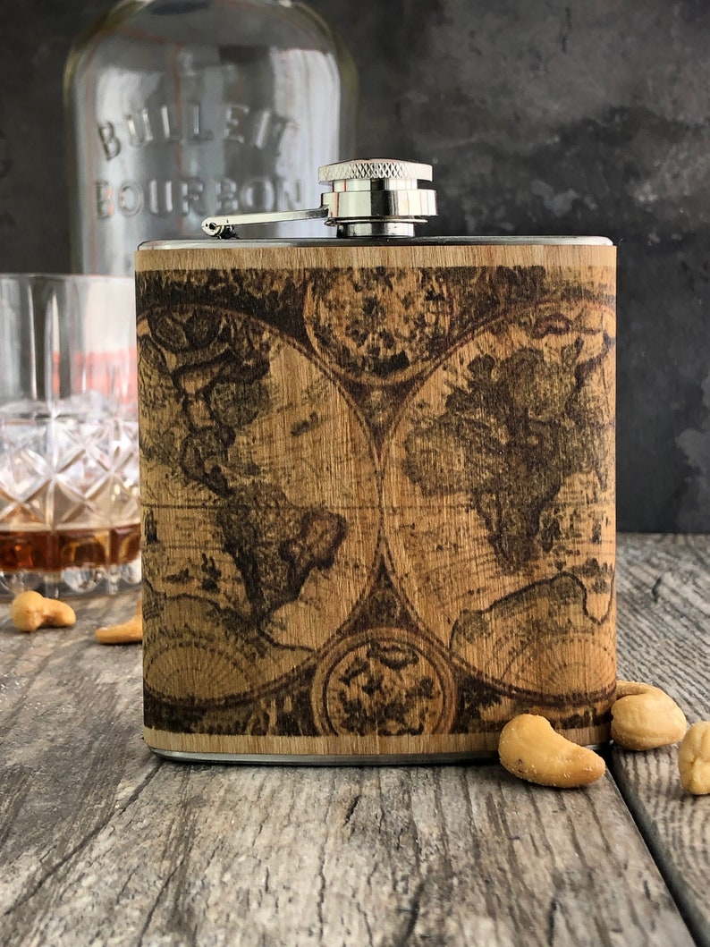 Real wood World Map Flask Vintage atlas art flask image 0