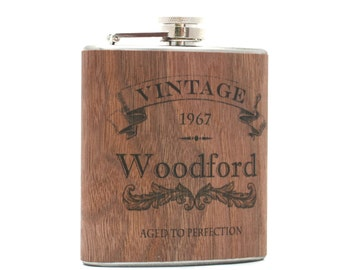 Personalized wood flask, birthday gift.