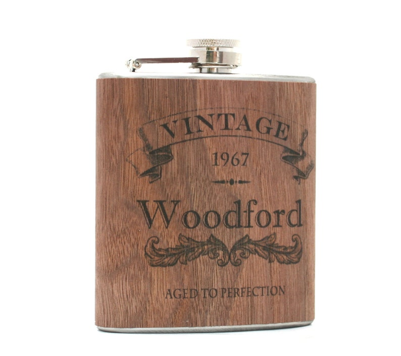 Personalized wood flask birthday gift. Flask only