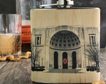 Wooden Ohio State flask,