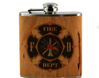 Fire Fighter Gift Flask -real cherry wood