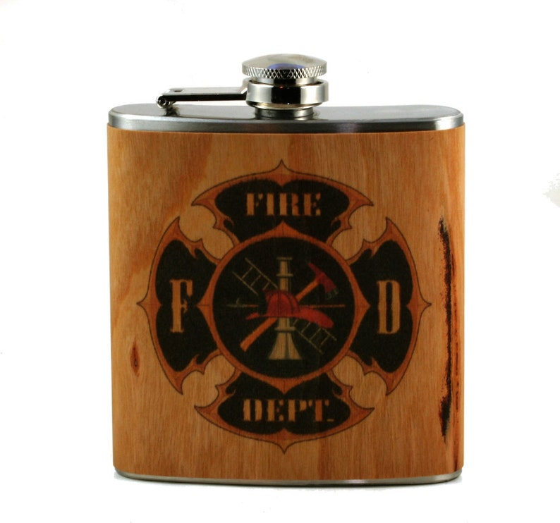 Fire Fighter Gift Flask real cherry wood image 0