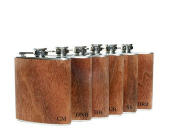 6 bachelor party flasks gift set  Groomsmen flask, wood flask