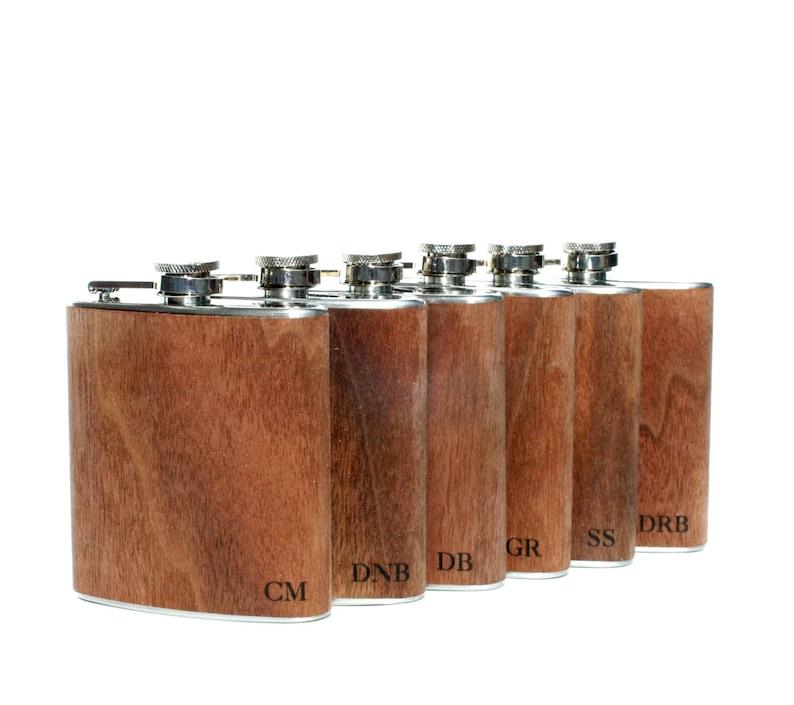 6 bachelor party flasks gift set  Groomsmen flask wood flask image 0