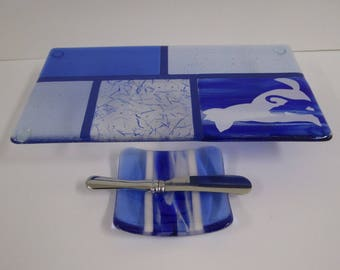 Pet Story Fused Glass Cheese Server Set