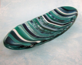 Atlantic Stripe Mini-Ellipsis Fused Glass Dish