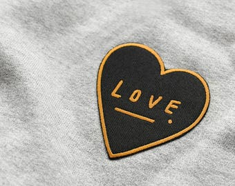 cf1ab1dc02b Love Heart Embroidered Patch - Black and Gold Embroidered Badge - Iron on  patch - sew on patch - patches for jackets - gift for her