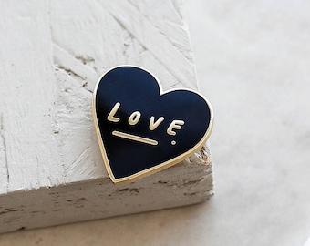 Love Heart Enamel Pin - Gold Enamel Pin - Love Enamel Pin - Black and Gold Enamel Pin - Love Gift - Enamel Lapel Pin - gift for her - ENP16