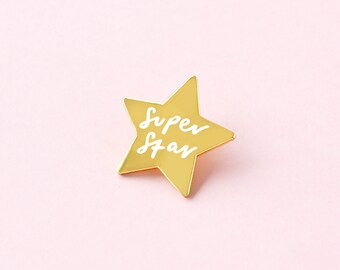 4aeba4c77a6 Super Star Enamel Pin - Gold and White Enamel Pin - Enamel Lapel Pin - Fun Enamel  Pin - Star pin - gift for her - enamel pin