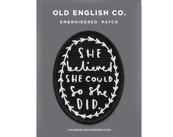 54097c854dc She Believed Embroidered Patch - Black and White Embroidered Badge - Iron  on patch - sew on patch - patches for jackets - gift for her