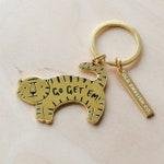 Go Get 'Em Tiger Keyring - Gold Keyring - House Keyring - Key ring - Motivational Keyring - Gift For Her - Gold Keychain - New Home Gift