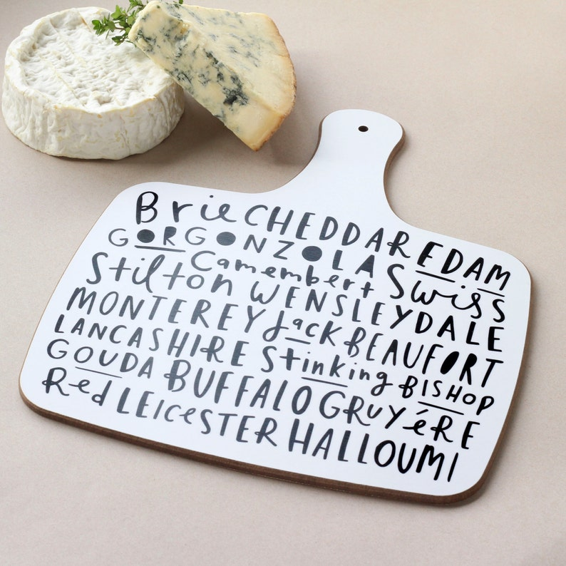 Cheese board  black and white  hand lettered typographic image 0