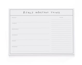 Really Important Things A4 Wall Planner - A4 Desk Pad - Motivational Stationery - Positive Notepad