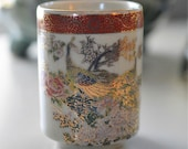 Satsuma Japanese Handleless Tea Cup. Peacock