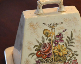 Ironstone Cheese Keeper Butter Dome Cloche Basket of Flowers Gold