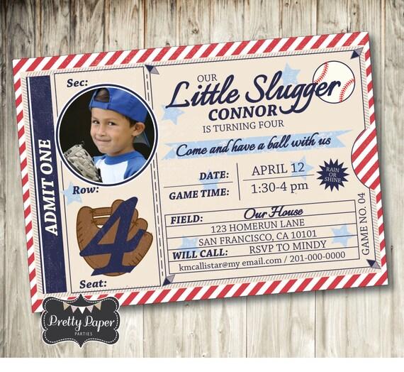 Vintage Baseball Birthday Invitations: Items Similar To Vintage Baseball Birthday Invitation With
