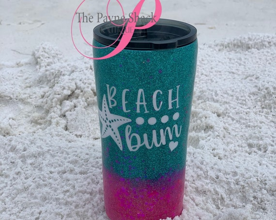 Beach Bum Glitter Tumbler, Glitter Tumbler Personalized, Tumbler