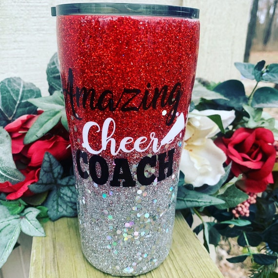 Amazing Cheer Coach, Glitter Tumbler Personalized, Tumbler