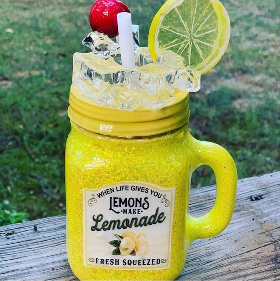 Life gives you lemons make Lemonade Glitter Tumbler,  Glitter Tumbler Personalized, Tumbler