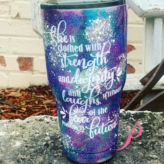 Proverbs 31 Glitter Tumbler,  Personalized, She is clothed with strength, Tumbler