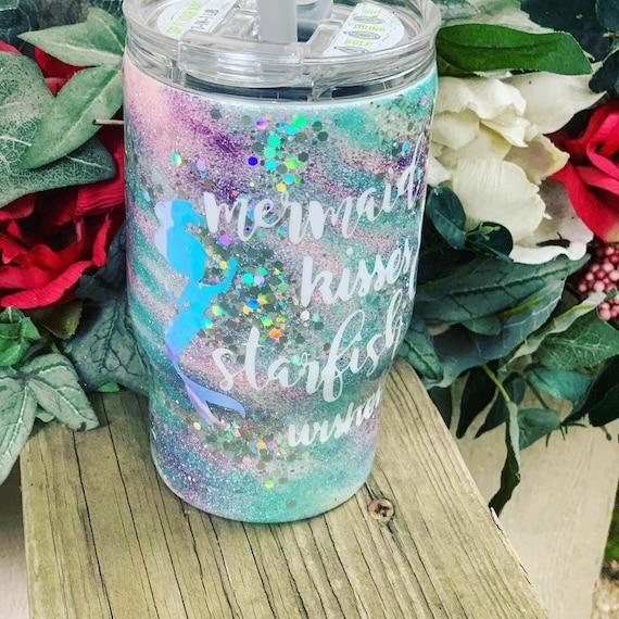 Mermaid Kisses Glitter Tumbler, Glitter Tumbler Personalized, Tumbler