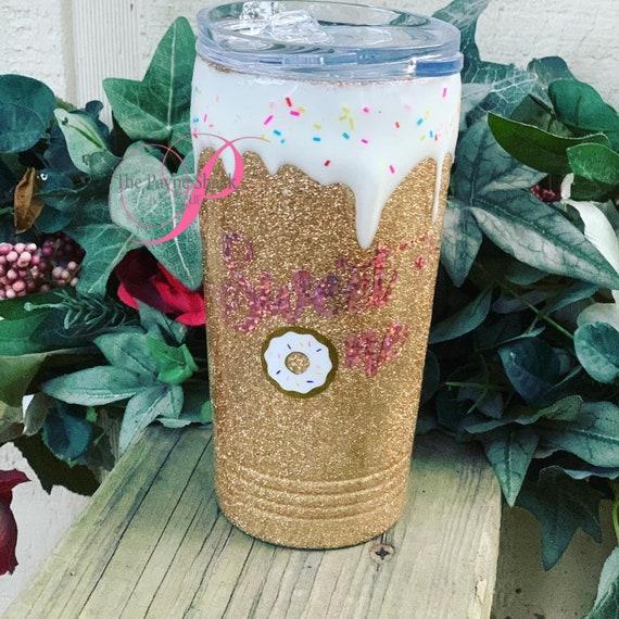 Donut Glitter Tumbler, Glitter Tumbler Personalized, Tumbler