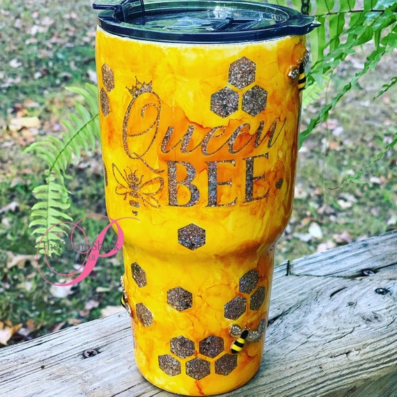 Queen Bee Glitter Tumbler, Personalized Cup, Tumbler