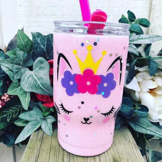 Kitty Cat Glitter Tumbler, Glitter Tumbler Personalized, Tumbler