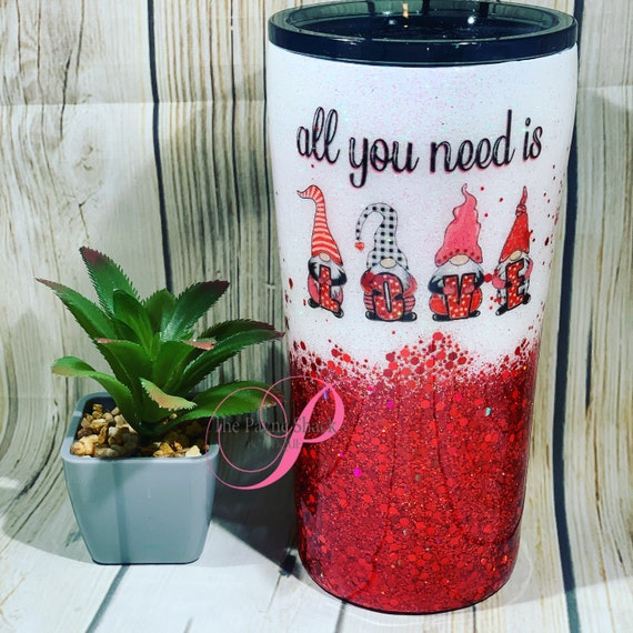 All you need is Love Glitter Tumbler Personalized, Tumbler