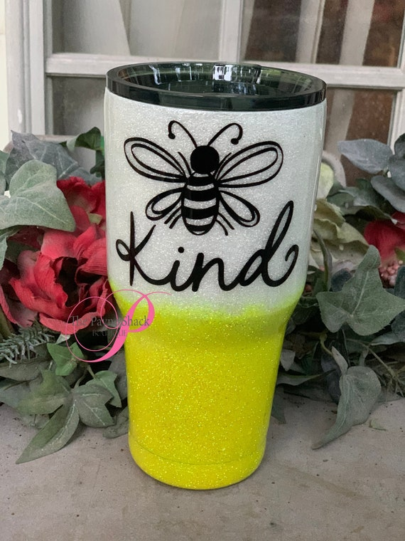 Bee Kind Glitter Tumbler, Personalized Cup, Tumbler