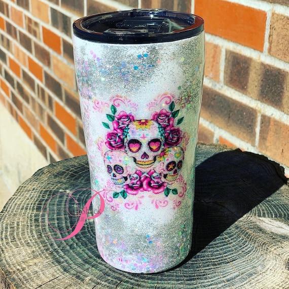Skulls Glitter Tumbler Personalized, Tumbler
